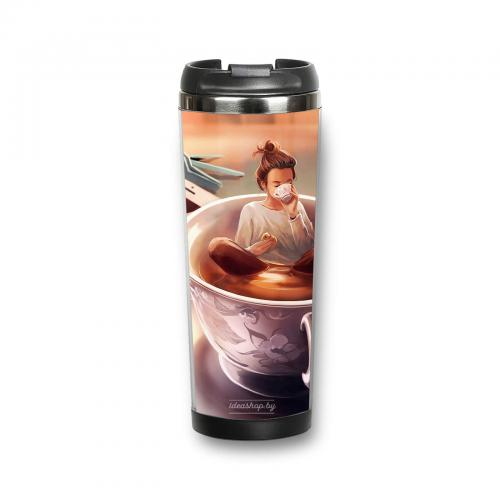 """Термокружка """"Девушка с кофе"""" 380 мл"""