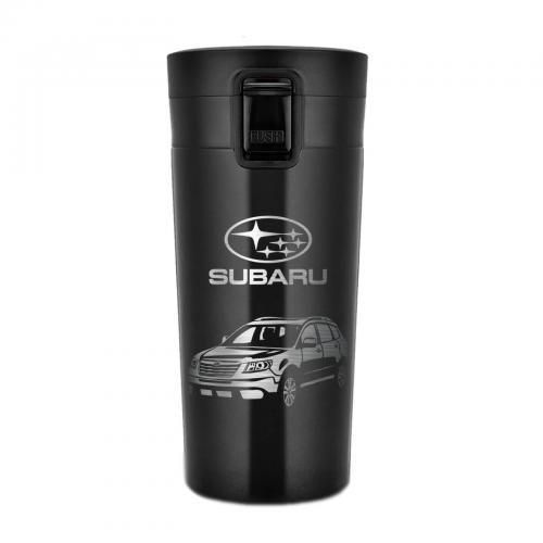"""Термокружка с гравировкой Creative """"Subaru. Лучшему мужу и папе"""" 380 мл черная"""