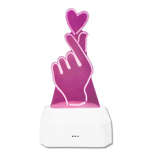 """Светильник 3D """"Сердечко в руке"""" цветной"""