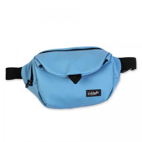 """Поясная сумка """"Макси. Экокожа"""" голубая"""