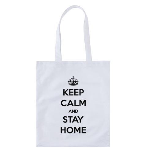 """Сумка-шоппер """"Keep Calm and Stay Home"""" белая"""