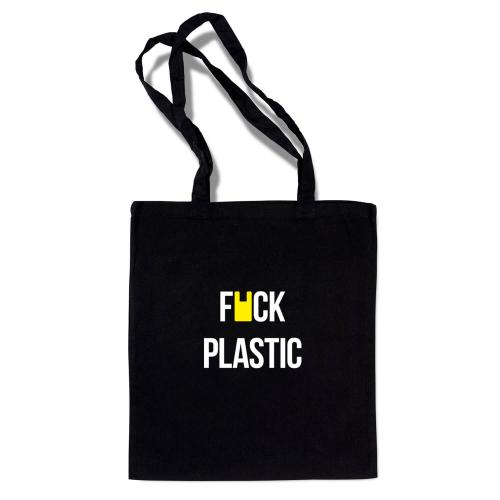 """Сумка-шоппер """"К черту пластик"""" черная"""