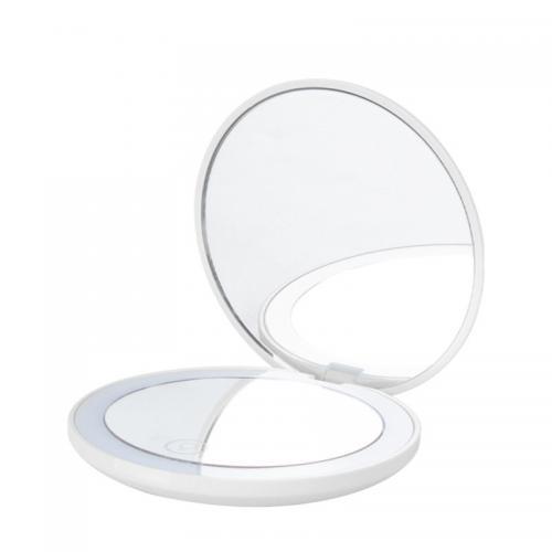Зеркало карманное с подсветкой Compact белое