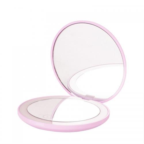 Зеркало карманное с подсветкой Compact розовое