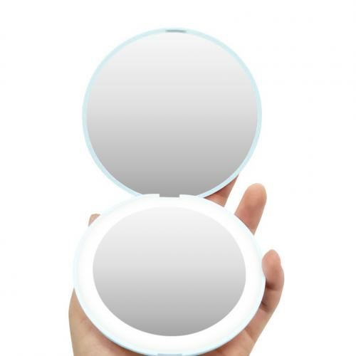 Зеркало карманное с подсветкой Compact бирюзовое